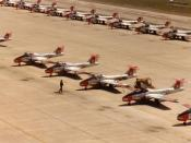 English: I took this photo of the CT-114 Tutor parking line at CFB Moose Jaw in the spring of 1982