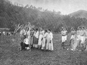 English: Photograph by James Mooney of a Cherokee dance, associated with the native game of stickball, in North Carolina.
