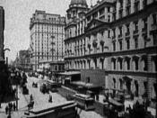 English: The exterior of Grand Central Station (now Grand Central Terminal) in New York City c. 1904. Also visible is the Hotel Manhattan.