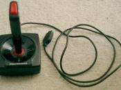 A 1980s one-button Atari-compatible joystick, The Pointmaster. One of the first third party controllers for the Atari 2600.