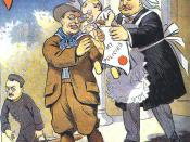 1909 cartoon from Puck magazine. Outgoing US president Teddy Roosevelt (dressed as a cowboy) hands responsibility (in form of a baby that looks like Roosevelt labeled