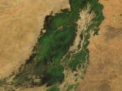 Niger River in Mali, 2001. Just south of the Sahara Desert in Africa, the Niger River creates a lush area of wetlands and lakes in an otherwise arid environment. In this true-color MODIS image from October 18, 2001, the Niger enters at left as a thin stri