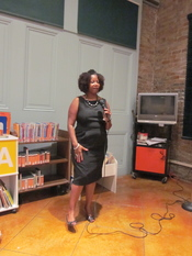 Ruby Bridges Hall speaking at Algiers Point temporary branch library, New Orleans.
