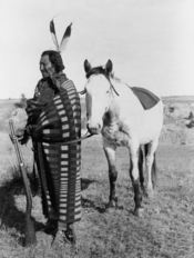 English: Photograph of Brule Lakota Chief Crow Dog, rifle and horse