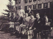 Dr. Ferguson and Dr. Boughton with a group of ex-service patients, waiting for the arrival of their Majesties King George VI and Queen Elizabeth in June, 1939.
