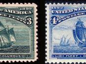 English: US Postage stamps: Columbian issues of 1893, 3c and 4c