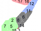 Map of Somalia showing the major self-declared states and areas of factional control. Pink - Somaliland (declared independent, unrecognized) Blue - Puntland (declared autonomous) Green - Jubaland (7,9,10, declared regional Autonomy) :- Other Southern Soma