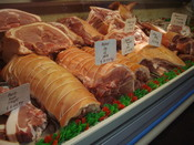 English: Pork products in Borough Market.