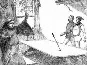 A crucial moment in the novel when Sir Oliver, Sir Daniel, and Dick Shelton are surprised by a black arrow in the Moat House refectory hall