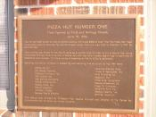 English: A picture of a plaque at the first Pizza Hut building, November 2007.