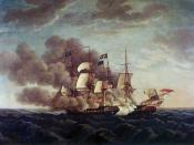 Painting of combat between USS Constitution and HMS Guerriere by Michel Felice Corne(1752-1845)