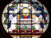 English: Stained glass in Nysa cathedral Deutsch: Glassmalerei in Neisse Kathedrale Polski: Witraż w Kościele św. Jakuba i Agnieszki w Nysie. Jeden z nielicznych, który przetrwał II wojnę światową