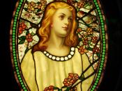 Girl with Cherry Blossoms - Tiffany Glass & Decorating Company, c. 1890.