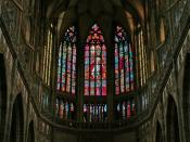 Intricate stained glass inside the Cathedral