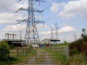 English: Electromagnetic radiation where? Not near my caravan. Farm buildings and caravan under the power cables.