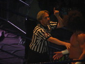 Professional wrestling referee Charles Robinson officiating a three-way tag team match