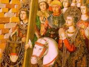 Saint Helena & Heraclius taking the Holy Cross to Jerusalem, Museo de Zaragoza, óleo sobre tabla (195 x 115 cm.) procedente del retablo de la Santa Cruz de Blesa, Teruel.