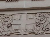 Brown University seal as a building detail. The motto,