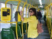 In tram.