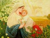 English: Mother Mary with the Holy Child Jesus Christ, Oil/canvas, 1913
