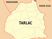English: Map of Tarlac showing the location of San Manuel