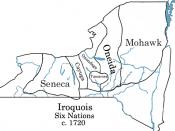 Iroquois Six-Nations map c.1720 Català: Mapa de la Confederació Iroquesa el 1720 Español: Mapa de las tribus iroquesas alrededor de 1720