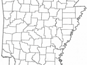 A map of Arkansas with county boundaries drawn