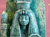 Cropped version of 34_louve.png which is part of a dual statue, isolating the portion with Queen Tiye (c. 1398 – 1338 BC) - this is a statue from the eighteenth dynasty of Egypt, created during the reign of Amenhotep III, who is presumed to be the partial