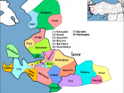 Map of the districts of İzmir province in Turkey. Created by Rarelibra 17:23, 1 December 2006 (UTC) for public domain use, using MapInfo Professional v8.5 and various mapping resources. Edited by One Homo Sapiens Corrected text where İ,Ş,ı,ğ,or ş occurs i
