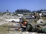 Battle of Hamo Village During the Tet Offensive. US Marines and ARVN troops defend a position against enemy attack.