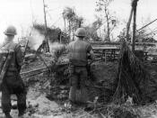 U.S. Marines move through the ruins of the hamlet of Dai Do after several days of intense fighting during the Tet Offensive