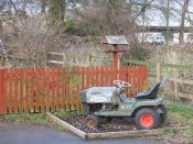 English: Mower, many careless owners Old mower, now employed in the children's entertainment industry at Quothquan Hall.