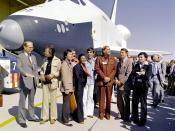 English: The Shuttle Enterprise rolls out of the Palmdale manufacturing facilities with Star Trek television cast members. From left to right they are: Dr. James D. Fletcher, NASA Administrator, DeForest Kelley (Dr.