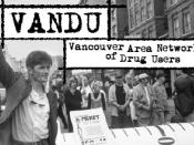 Picture of VANDU marchers, with logo