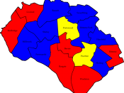 English: A map of the results of the 2007 Southampton Council election. Colour legend by wards won: Conservative party Labour party Liberal Democrats