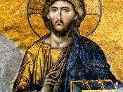 English: Jesus Christ - detail from Deesis mosaic, Hagia Sophia, Istanbul