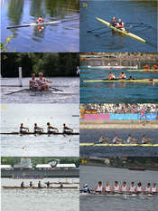 Rowing racing boats