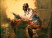 English: Black man reading newspaper by candlelight Man reading a newspaper with headline,