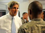 Senator John Kerry visits troops at Camp Eggers