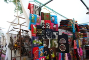 English: T shirt vendors with various designs including those of Zapatistas at Santo Domingo in San Cristobal de las Casas, Chiapas, Mexico