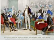 Color lithograph depicting George Washington after his appointment as commander in chief of the Continental Army.