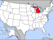 Michigan's location in the United States.