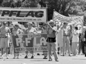 PFLAG contingent (Parents, Families and Friends of Lesbians and Gays), annual Seattle LGBT Pride parade, Capitol Hill, Seattle, Washington, 1995. This would have been before this parade was relocated to its present downtown route in 2006.