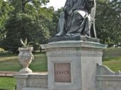 English: Statue of Edward Jenner This is the statue of Edward Jenner in Kensington Gardens. A county doctor who's blatant disregard for medical ethics (he deliberately tried to infect a boy with smallpox definitely against the Hippocratic oath!) it enable
