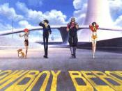 From left to right: Ein, Edward, Spike Spiegel, Jet Black and Faye Valentine