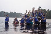 Campers and staff of Camp Becket of the Becket Chimney Corners YMCA enjoying Rudd Pond