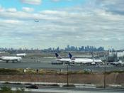 Newark Airport, NJ. Foreground: Terminal C; background: The borough of Manhattan