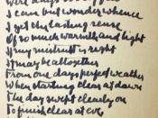 English: Handwritten version of 'Happiness makes up in height for what it lacks in length' by Robert Frost. Found inscribed in a Robert Frost book in the Special Collections Library at Duke University. Date of signature in the book predates formal release