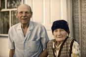 English: An old married couple in Kyrgyzstan, 2010.
