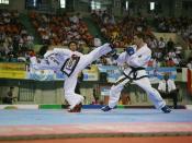Combate de Taekwondo estilo ITF.
